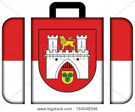 Flag Of Hanover, Germany. Suitcase Icon, Travel And Transportation Concept