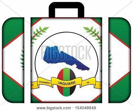 Flag Of Jaguare, Espirito Santo State, Brazil. Suitcase Icon, Travel And Transportation Concept