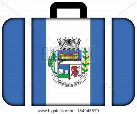 Flag Of Japeri, Rio De Janeiro State, Brazil. Suitcase Icon, Travel And Transportation Concept