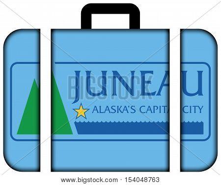 Flag Of Juneau, Alaska, Usa. Suitcase Icon, Travel And Transportation Concept