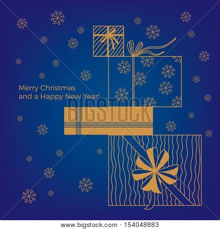 Christmas card with golden presents wrapped up in different Christmas wrapping paper and ribbons on deep blue background with snowflakes and text