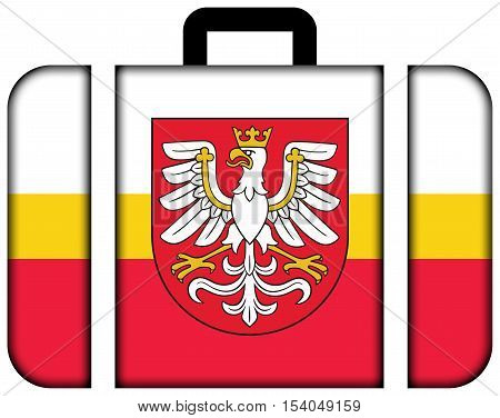 Flag Of Lesser Poland Voivodeship With Coat Of Arms, Poland. Suitcase Icon, Travel And Transportatio