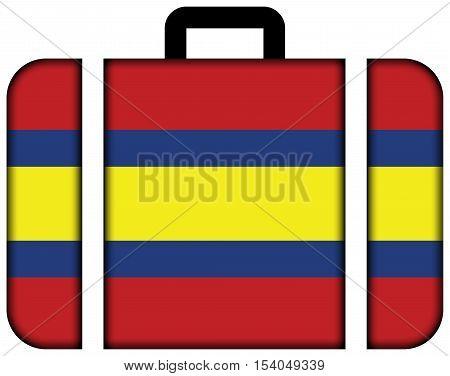 Flag Of Loja, Capital Of Loja Province, Ecuador. Suitcase Icon, Travel And Transportation Concept