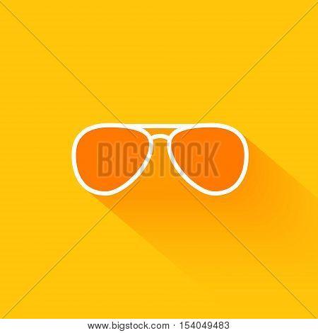 Orange summer sunglasses flat long shadow icon design