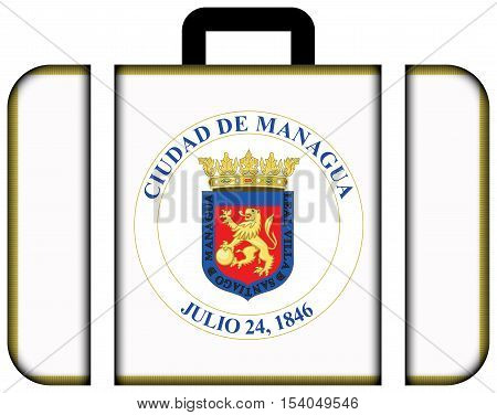 Flag Of Managua, Nicaragua. Suitcase Icon, Travel And Transportation Concept