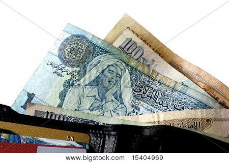 Dinar of Libya on isolated white  background