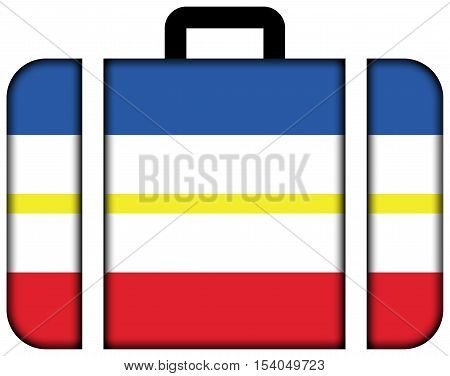 Flag Of Mecklenburg-western Pomerania, Germany. Suitcase Icon, Travel And Transportation Concept