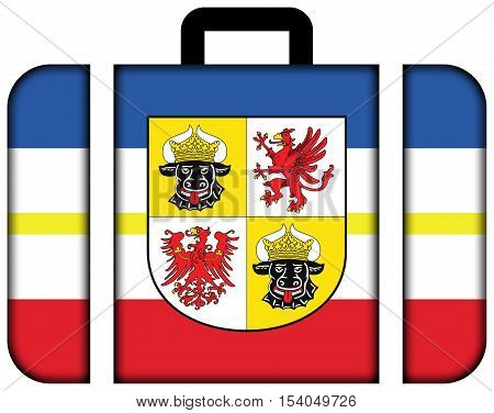 Flag Of Mecklenburg-western Pomerania With Coat Of Arms, Germany. Suitcase Icon, Travel And Transpor