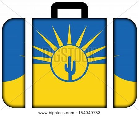 Flag Of Mesa, Arizona, Usa. Suitcase Icon, Travel And Transportation Concept