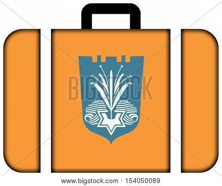 Flag Of Netanya, Israel. Suitcase Icon, Travel And Transportation Concept