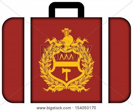 Flag Of Nizhny Tagil, Sverdlovsk Oblast, Russia. Suitcase Icon, Travel And Transportation Concept