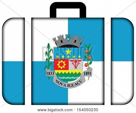 Flag Of Nova Iguacu, Brazil. Suitcase Icon, Travel And Transportation Concept
