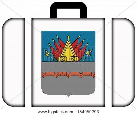Flag Of Omsk (2002), Russia. Suitcase Icon, Travel And Transportation Concept