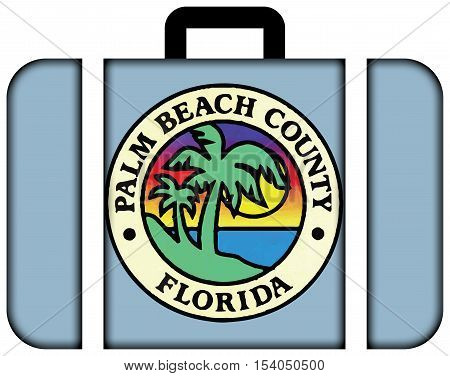 Flag Of Palm Beach County, Florida, Usa. Suitcase Icon, Travel And Transportation Concept