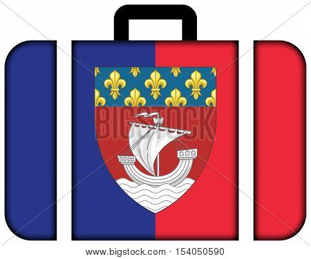 Flag Of Paris With Coat Of Arms (escutcheon Only), France. Suitcase Icon, Travel And Transportation