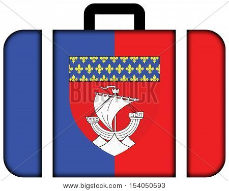 Flag of Paris with Coat of Arms (Escutcheon only) France. Suitcase icon travel and transportation concept poster