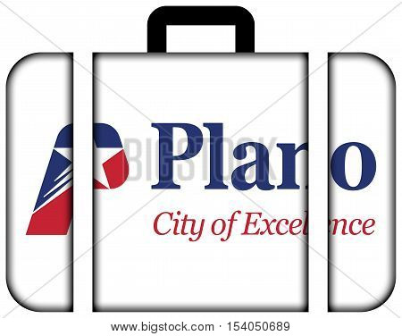 Flag Of Plano, Texas, Usa. Suitcase Icon, Travel And Transportation Concept