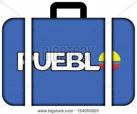 Flag Of Pueblo, Colorado, Usa. Suitcase Icon, Travel And Transportation Concept