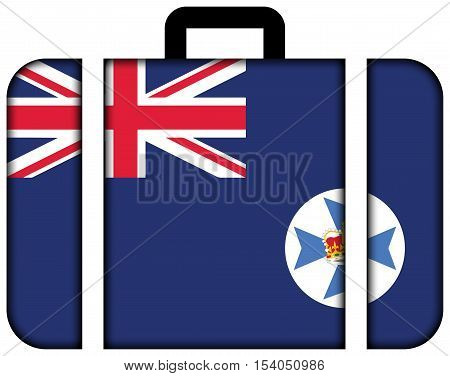 Flag Of Queensland State, Australia. Suitcase Icon, Travel And Transportation Concept
