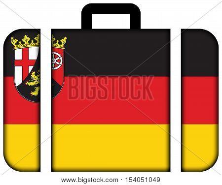 Flag Of Rhineland-palatinate, Germany. Suitcase Icon, Travel And Transportation Concept