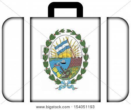Flag Of Rosario, Santa Fe, Argentina. Suitcase Icon, Travel And Transportation Concept