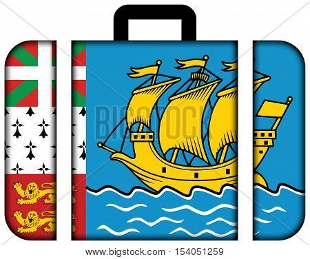 Flag Of Saint Pierre And Miquelon (unofficial). Suitcase Icon, Travel And Transportation Concept