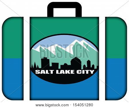 Flag Of Salt Lake City, Utah, Usa. Suitcase Icon, Travel And Transportation Concept