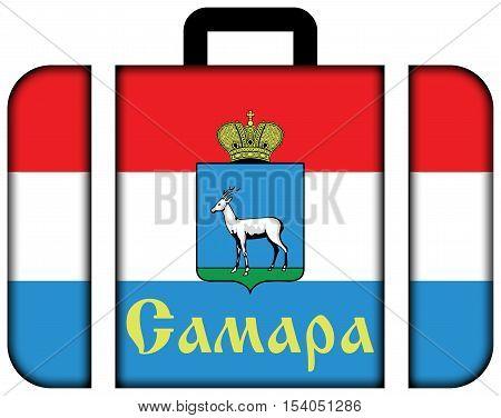 Flag Of Samara, Samara Oblast, Russia. Suitcase Icon, Travel And Transportation Concept