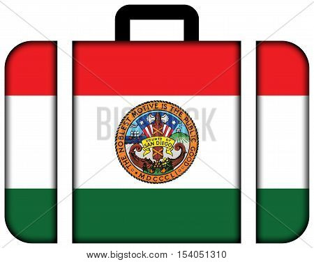 Flag Of San Diego County, California, Usa. Suitcase Icon, Travel And Transportation Concept