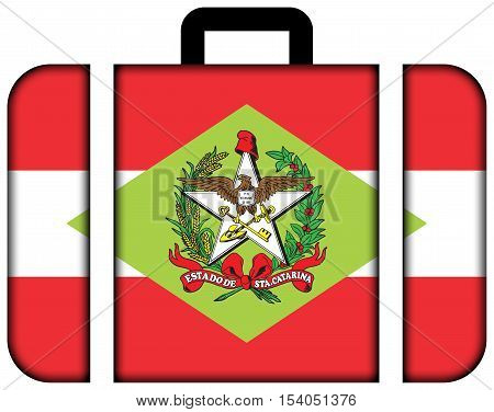 Flag Of Santa Catarina State, Brazil. Suitcase Icon, Travel And Transportation Concept