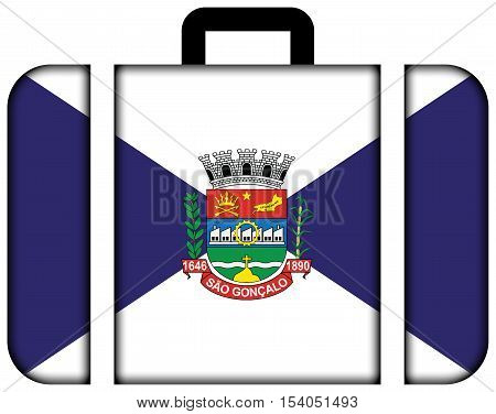 Flag Of Sao Goncalo, Rio De Janeiro State, Brazil. Suitcase Icon, Travel And Transportation Concept