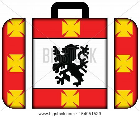 Flag Of Sao Vicente, Sao Paulo, Brazil. Suitcase Icon, Travel And Transportation Concept