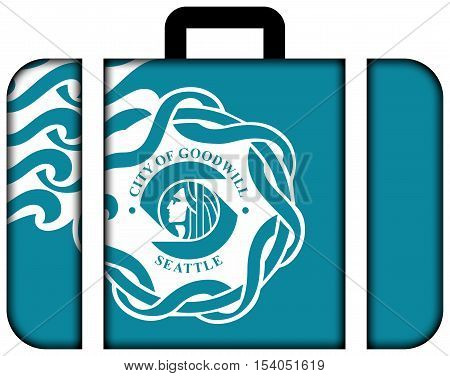 Flag Of Seattle, Usa. Suitcase Icon, Travel And Transportation Concept