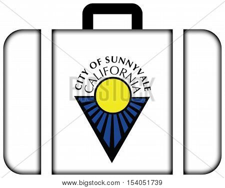 Flag Of Sunnyvale, California, Usa. Suitcase Icon, Travel And Transportation Concept