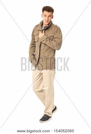 A Man Wearing Khaki German Military Jacket Isolated
