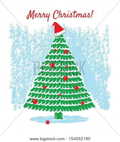 A Merry Christmas  card. Tall Christmas tree in the snow decorated with red baubles and a Santa hat on top. Icy blue and white background.