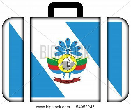 Flag Of Vila Pavao, Espirito Santo State, Brazil. Suitcase Icon, Travel And Transportation Concept
