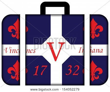 Flag Of Vincennes, Indiana, Usa. Suitcase Icon, Travel And Transportation Concept