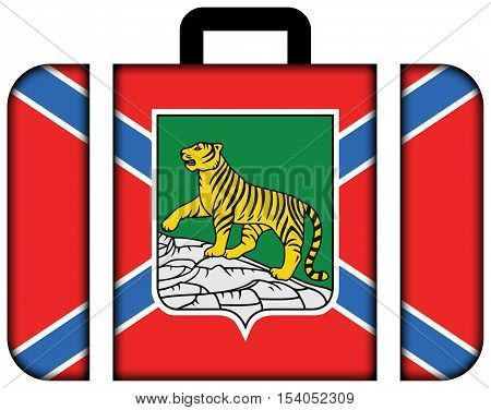 Flag Of Vladivostok, Primorsky Krai, Russia. Suitcase Icon, Travel And Transportation Concept