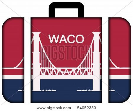 Flag Of Waco, Texas, Usa. Suitcase Icon, Travel And Transportation Concept