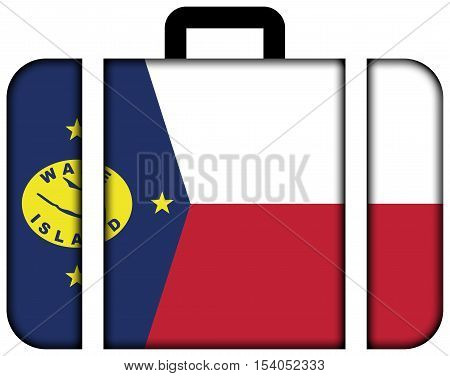 Flag Of Wake Island, Usa. Suitcase Icon, Travel And Transportation Concept