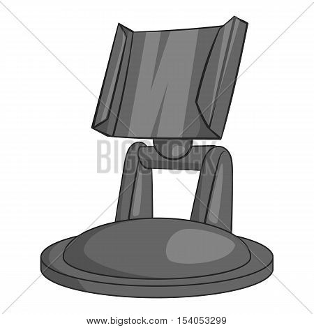 Surfboard mount for action cam icon. Gray monochrome illustration of surfboard mount vector icon for web design
