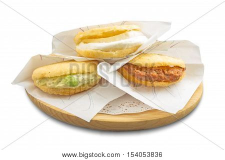 Traditional Venezuelan arepas, fried corn bread with local products canaries photographed in Tenerife Spain