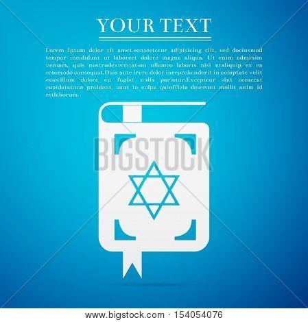 Jewish torah book flat icon on blue background. Vector Illustration
