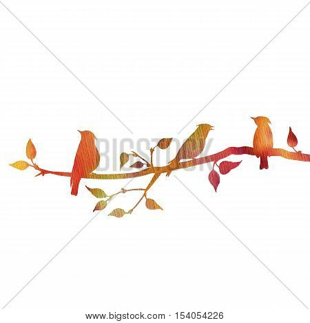 watercolor silhouettes of birds at tree, hand drawn waxwings at branch of wild apple tree, color nature background