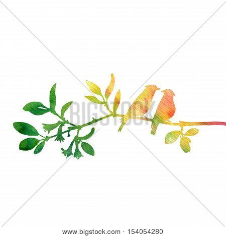 watercolor silhouettes of birds at tree, hand drawn waxwings at branch, Valentine symbol, a pair of lovers, color nature background