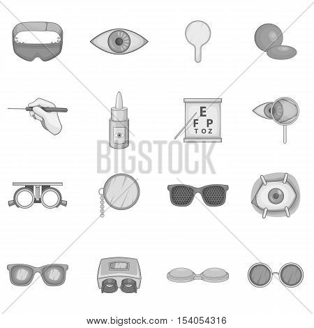 Ophthalmology icons set. Gray monochrome illustration of ophthalmology 16 vector icons for web
