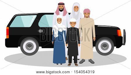 All age group of arab man family. Generations man. Arab people father, mother, son and daughter, standing together in traditional islamic clothes near the car. Social concept. Family concept.