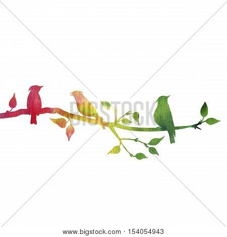 silhouettes of birds at tree, hand drawn waxwings at branch of wild apple tree, color nature background