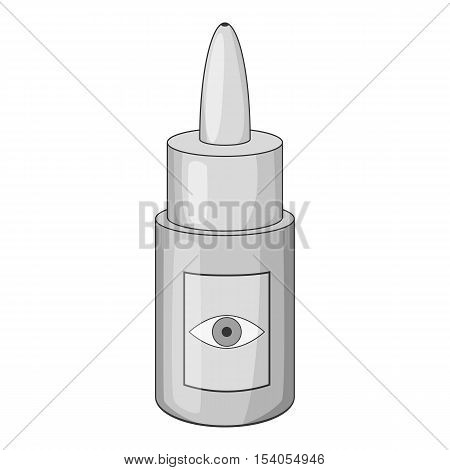 Eye drops bottle icon. Gray monochrome illustration of drops bottle vector icon for web design